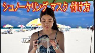 シュノーケリング マスク 付け方の説明ビデオ、初心者向けにマスクとシ...