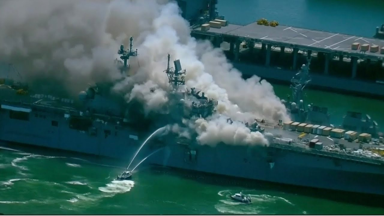WATCH LIVE: Fire blazing on military ship in California
