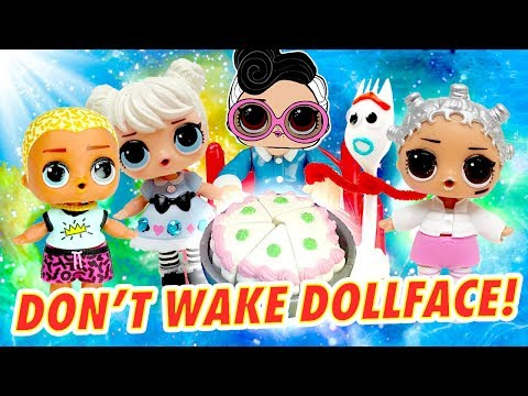 LOL Surprise Dolls Don't Wake Dollface Missing Cake Mystery Game! W/ Curious QT & Scribbles