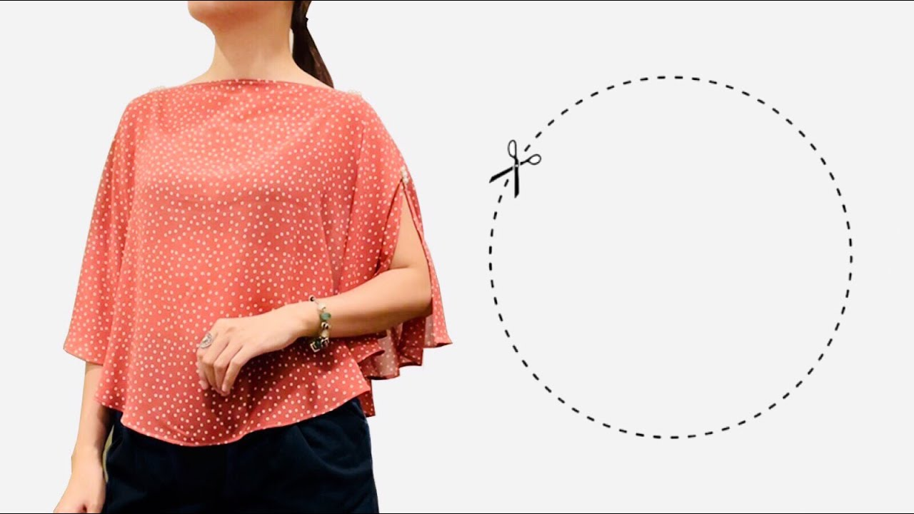 Very easy Circular blouse cutting and sewing | DIY batwing top/shirt | Butterfly sleeve blouse