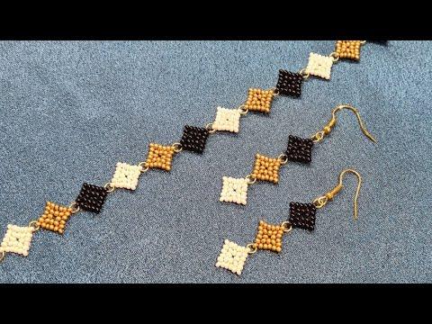 Bead bracelet/Beaded EARRINGS/Diy/Tutorial/Браслет
