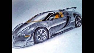 Bugatti  veyron & mercedes cls amg 63 drawing // step by step