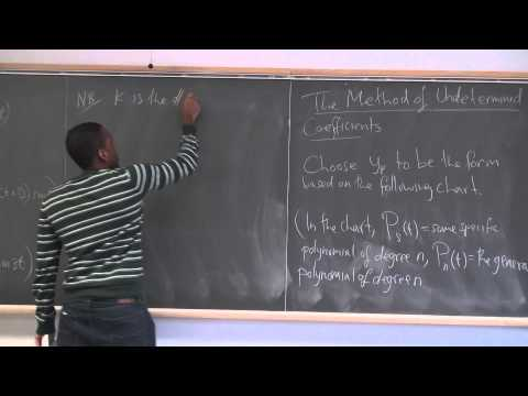 Math 391 Lecture 12 - Nonhomogeneous SOLDE - The Method of Undetermined Coefficients (Setup)
