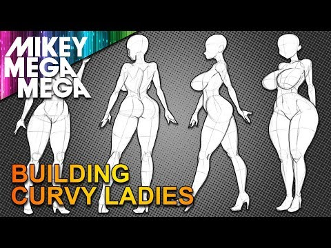CURVY ANIME GIRL POSES FROM BASIC SHAPES (How To Draw)