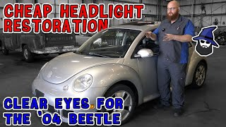 CAR WIZARD shows how to restore headlights cheap! And how to replace headlamps on '04 Turbo S Beetle