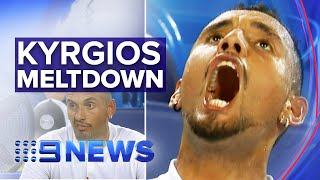 Nick Kyrgios hurls abuse, storms off during match against Karen Khachanov | Nine News Australia