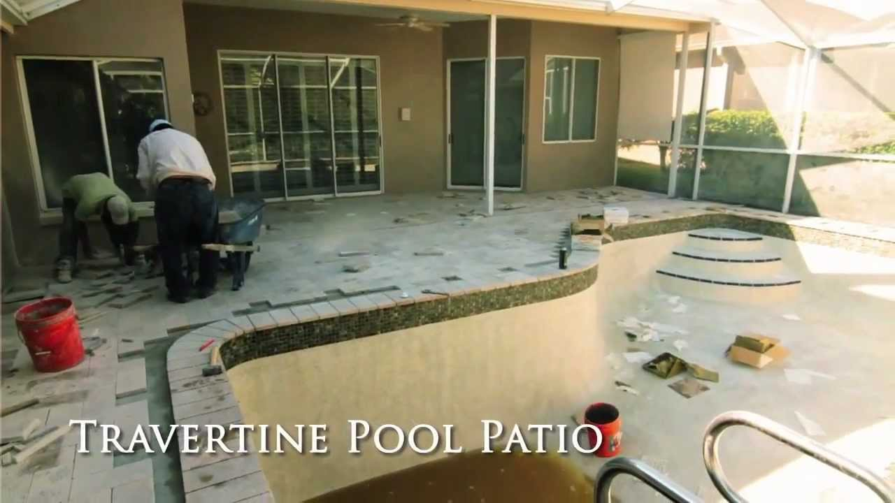 How To Install Travertine Paved Pool Patio And Travertine Pool Coping    Tampa, FL   YouTube