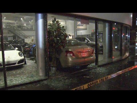 DJ Jaime Ferreira aka Dirty Elbows - Guy Having Bad Day Rams Car Into Porsche Dealership.