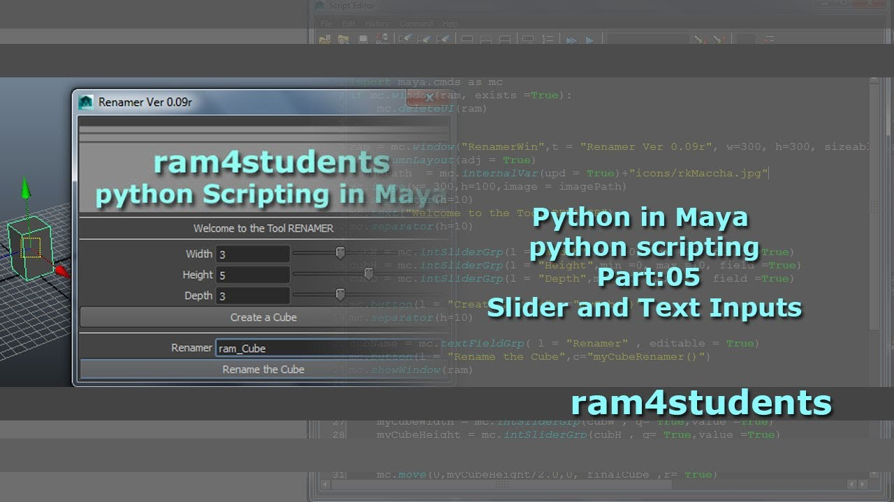 Python in Maya - python scripting - Part:05: Slider and Text Inputs