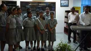 Sunil agrahari performing book week song   in library 26th july 2012 AHLCON INTERNATIONAL