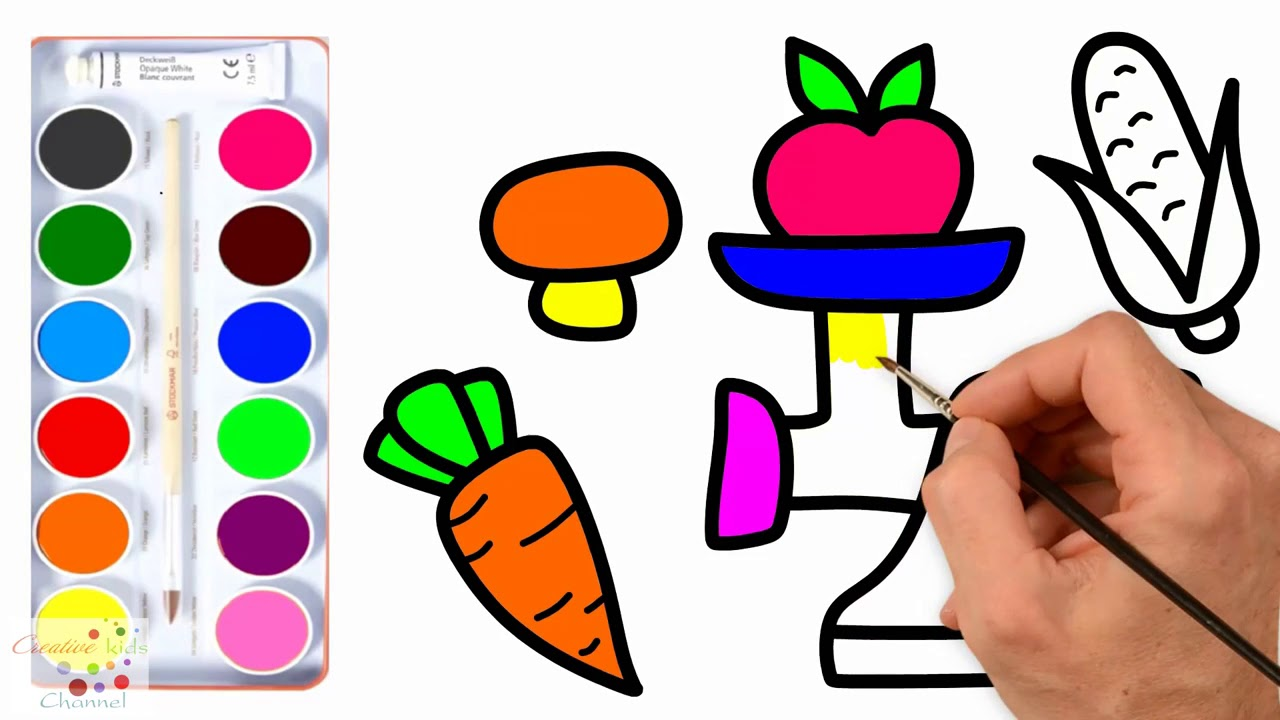 Vegetables And Chopper How To Draw And Coloring For Children S
