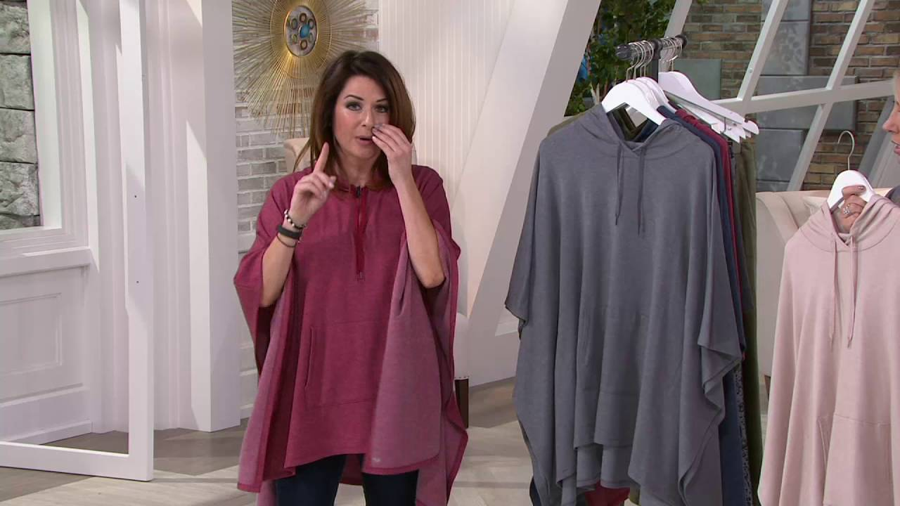 cuddl duds comfortwear brushed back french terry poncho w hood on qvc