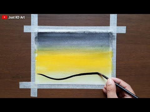 Watercolor painting landscape for Beginners । Watercolor art easy landscape tutorial