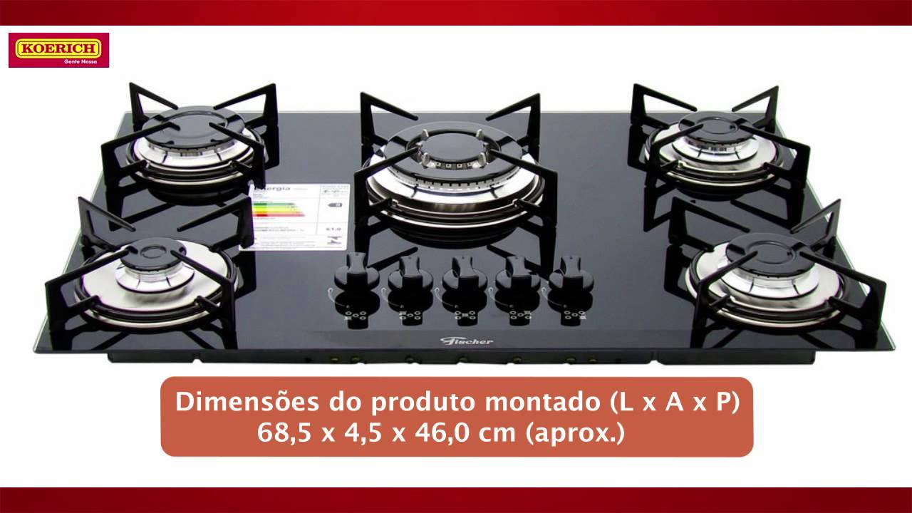 8f6d914aa Cooktop 5 bocas Fischer Tripla Chama Vidro - YouTube