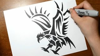 How to Draw a Tribal Eagle - Quick Sketch
