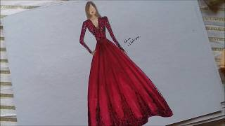 How To Draw Elegant Red Dress