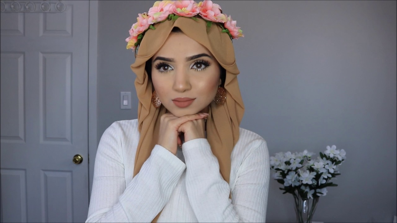 How to flower wear crown with hijab