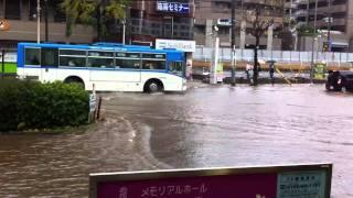 大雨で宮前平駅前の尻手黒川道路が川のよう 20101203(HD)