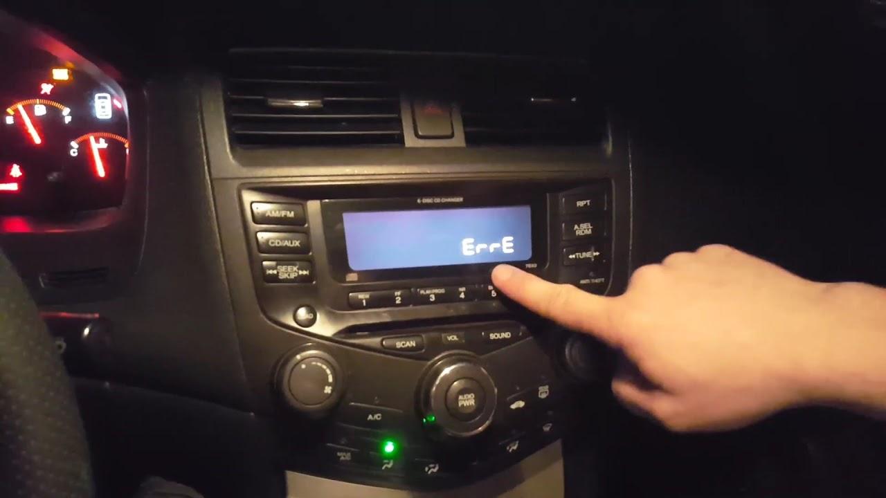 2005 honda accord radio code error e