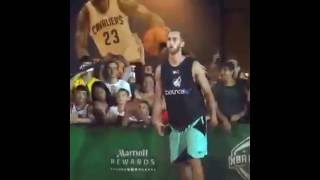 Fan volunteer to participate in the contest and shock to everyone with his basket ball skills. Video