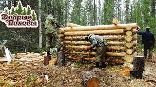 Build a log hut. 8 days in the forest in a tent camp. Episode 1