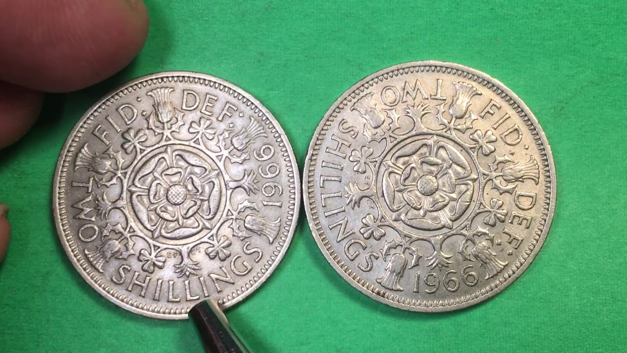 Elizabeth II 2 Shillings Copper-Nickel Coin Q Great Britain 1966-1 Florin
