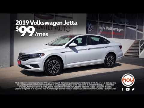 Hoy Volkswagen $99/mes Sept Lease Special en El Nuevo 2019 Jetta