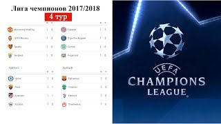 Футбол Лига Чемпионов 2017/2018. Результаты 4 тура в группах A. B. C. D. Расписание