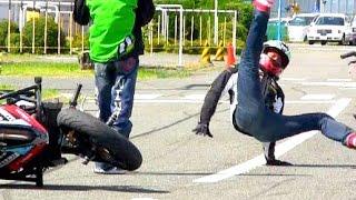 【バイク神業・完全版】教習所ドリフトウイリーばくおん! Bike Stunt Ninja Japan!Shin Kinoshita Dai Yabiku Trails Fusion