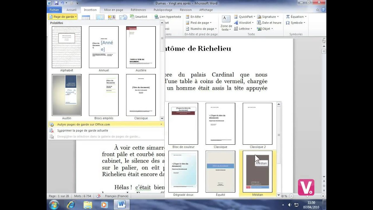 how to make a presentation page in word