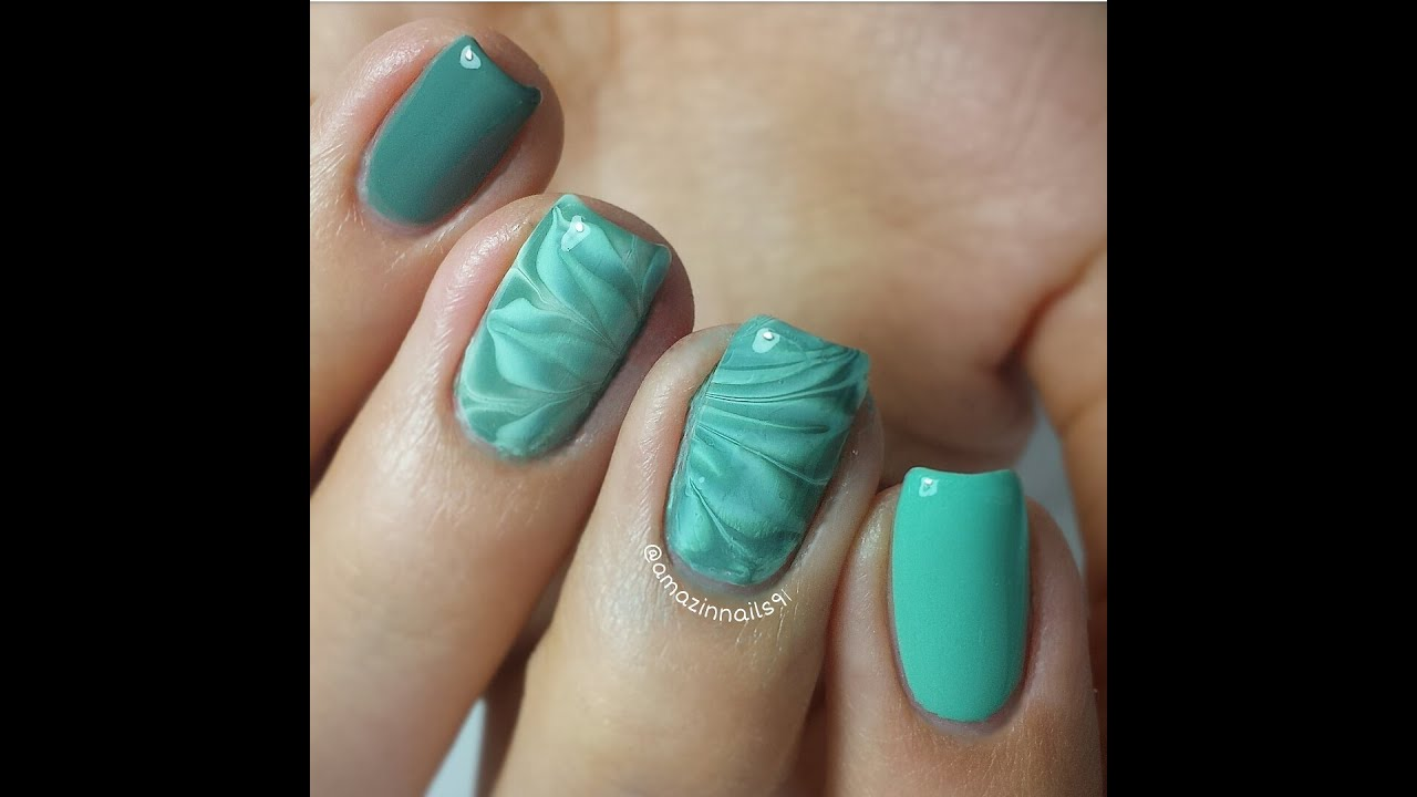 Nail Art Tutorial Dark Greenlight Blue Watermarble Mission