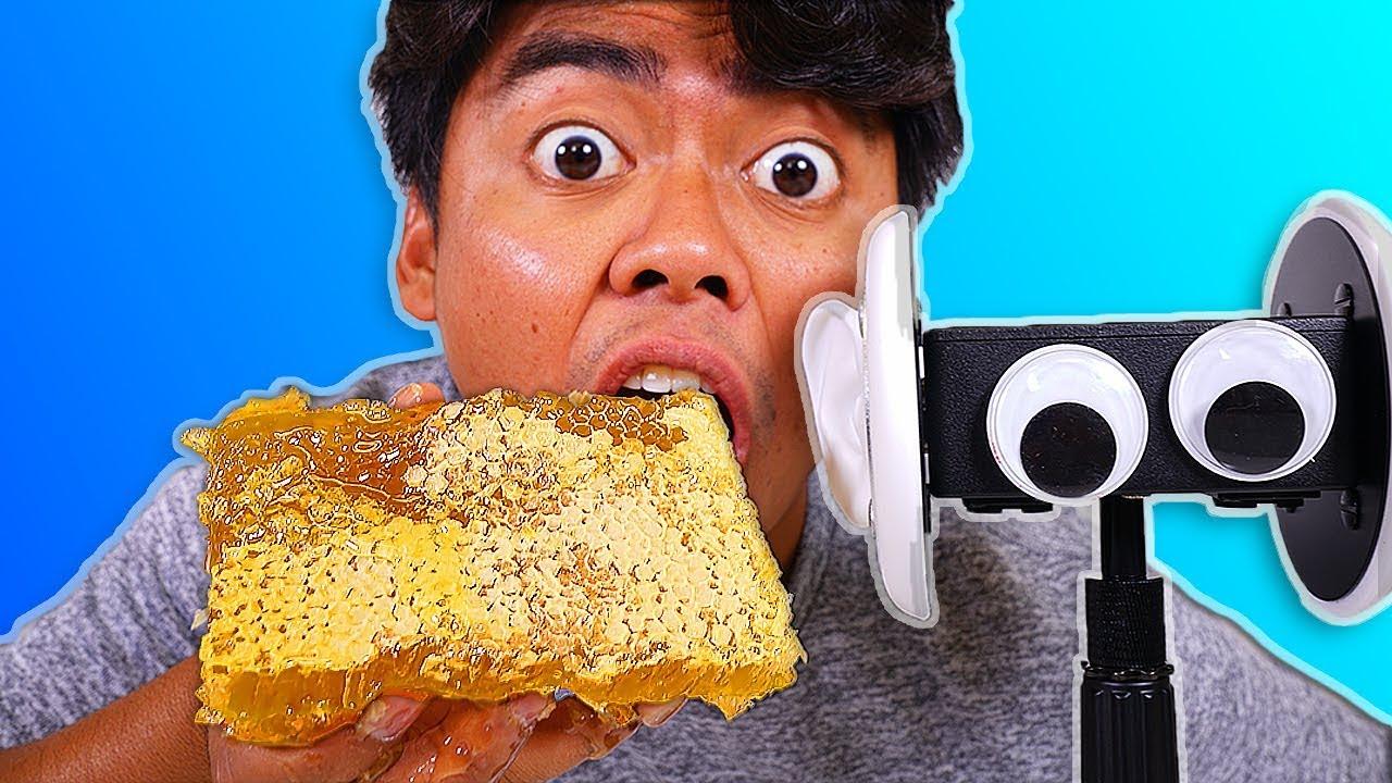 I Tried Asmr Eating Raw Honeycomb Floral Foam Watermelon Sticky Crunchy Sounds