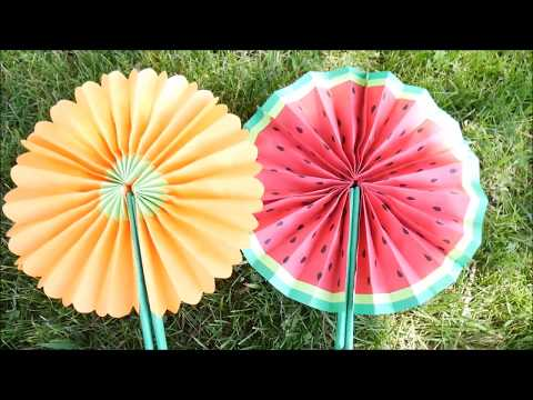 DIY- How To Make Cute Paper Fans | Hand Fans| Folding Fans -Watermelon,Flower- Projects for Kids