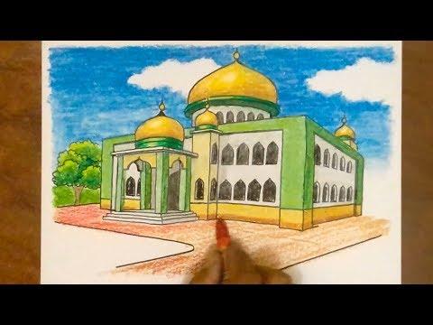 MASJID Kubah Emas - CARA Menggambar dan Mewarnai MASJID | GOLDEN DOME MOSQUE - Drawing Mosque