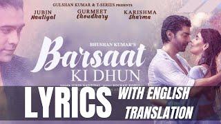 Barsaat Ki Dhun (Lyrics + ENGLISH Translation)| Rochak Kohli | Jubin Nautiyal