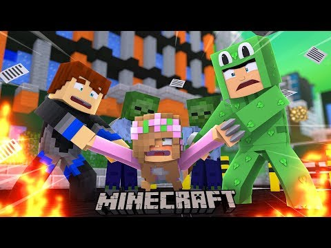 ZOMBIES ATTACK THE CITY AND TURN LITTLE KELLY !!! Minecraft w/ Little Lizard and Scuba Steve