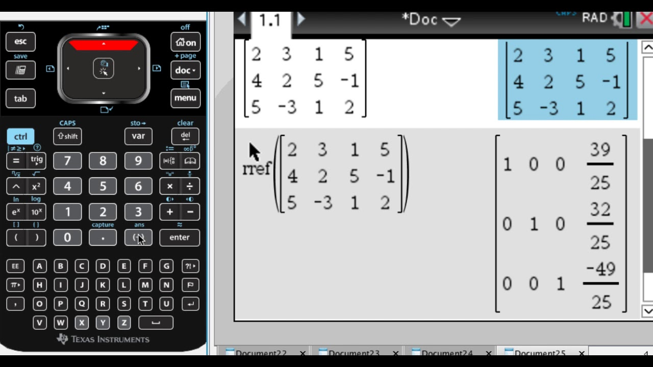 Put a Matrix in Reduced Row-Echelon Form on the TI-Nspire