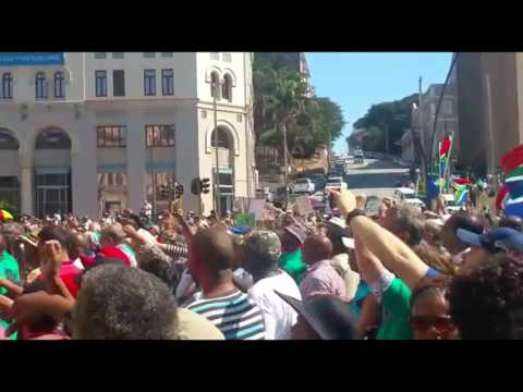 Crowd gathered outside Port Elizabeth City Hall for SAVE South Africa rally