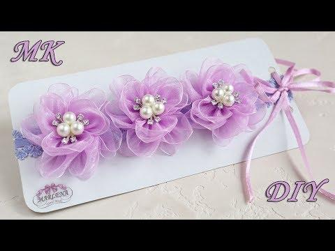 Повязка с цветами из органзы. Organza Flowers DIY
