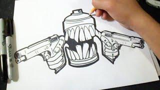 Cómo dibujar Lata de spray con Pistolas Graffiti