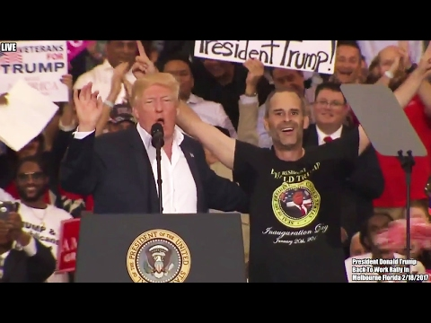 President Trump Brings Supporter (Gene Huber) On Stage - He Was Very Emotional and Excited, 2/18/17
