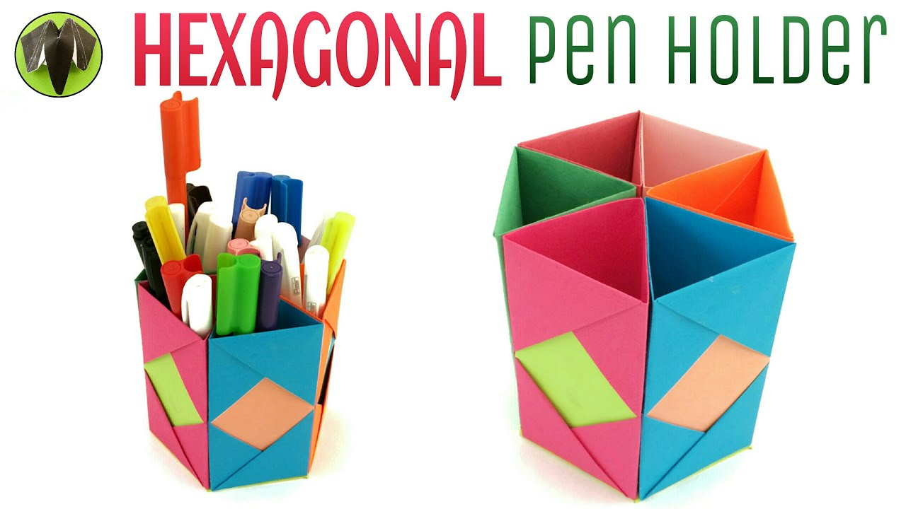 hexagonal pen pencil holder diy handmade tutorial by paper