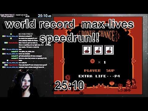 WORLD RECORD 25:10 super mario bros. 2 [NES] max lives speedrun (glitchless)