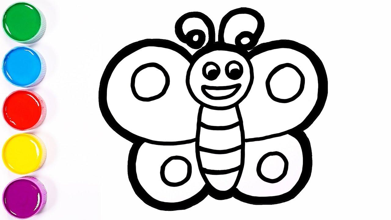 Vẽ và tô màu con bướm | Butterfly drawing and painting for kids toddlers | Sunny Colours