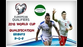 2018 WORLD CUP QUALIFICATION EUROPE (GROUPS D-E-F)