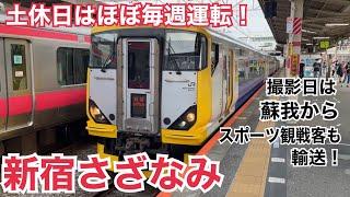 内房線(総武快速線) E257系500番台 特急新宿さざなみ2号 新宿ゆき到着→発車@蘇我