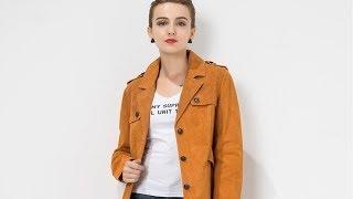 видео Женское кожаное пальто из натуральной замши (с накатом) с воротником, без отделки