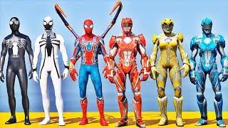 Time HOMEM ARANHA vs Novos POWER RANGERS - GTA V Mods - Team Spider-Man vs Team Power Rangers