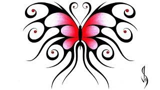 How I Draw a Swirly Symmetrical Butterfly Design
