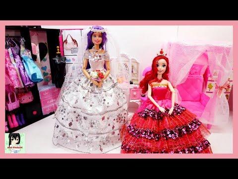 Barbie Wedding Dress Bedroom Morning Routine باربي فستان الزفاف vestido de novia para Ami Channel